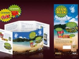 KLIX / Jacobs Aktion mit diversen Werbemitteln wie z.B. Flyer, Plakat, Aufkleber